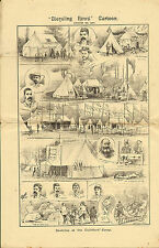 1887 double page print from bicycling news -  sketches at guildford camp