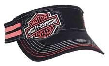 Harley-Davidson Women's Embroidered Bar & Shield Visor, Black & Pink VIS30291