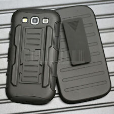 For Samsung Phone Shockproof Rugged Hybrid Rubber Hard Case Cover + Belt Clip