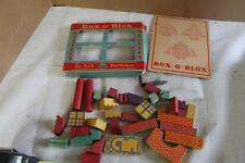ANTIQUE ARK TOY MAKERS~TOLEDO OH~BOX O' BLOX WOOD TOY CHILD'S BUILDING BLOCKS