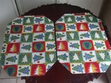 """Reversible Fabric Placemats Stars Christmas Trees green red Pair 19"""" x 13"""" New"""