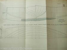 "ANTIQUE PRINT C1895 DIXON KEMP YACHT & BOAT SAILING ""MOCKING BIRD"" FOLD OUT PLAN"