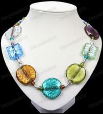 BIG GLASS BEAD NECKLACE murano beads SILVER FOIL amber GREEN,BLUE,BLACK,ZEBRA