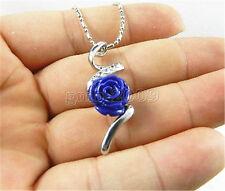 12mm Lapis lazuli Carved Rose Flower Rhinestone Pendant Necklace