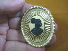 (CA10-12) RARE African American LADY black + ivory CAMEO Pin Pendant JEWELRY
