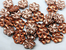 Czech flat flower copper coating pressed glass bead 13 mm pack of 9