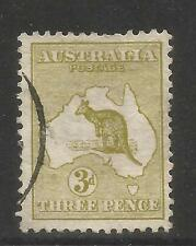 Australia 1913 Kangaroo/Map 3p olive bister--Attractive Topical (5) used