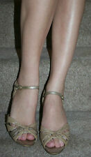 "NEW LOOK GOLD SPARKLE SANDALS UK7 EU40 3"" KITTEN HEELS VERY WELL W0RN OLD"