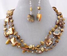 3 Row Brown Bead And Shell Necklace Earrings Set Silver Fashion Jewelry NEW