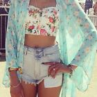 Summer Women Short Sleeve Floral Sheer Chiffon Kimono Cardigan Tops Blouses Coat
