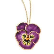 """Flowers & Leaves Lacquer Dipped Lilac Pansy Necklace w/ Gold Tone Chain 20"""""""