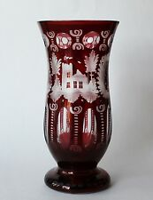 Vintage Bohemian Czech Ruby Red Cut to Clear Crystal Glass Vase Bird Castle