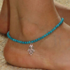 Boho Turquoise Beads Silver Hamsa Ankle Chain Bracelet Anklet Foot Jewelry Gift