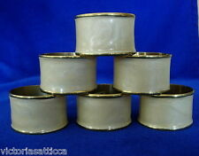 Set of 6 Vintage Beige Pearlescent Enamel on Solid Brass/Gold Color Napkin Rings