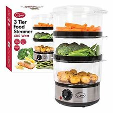 NEW QUEST 3 TIER STAINLESS STEEL COMPACT FOOD STEAMER WITH RICE BOWL - 6L- 400W