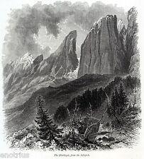 Sassopiatto dal Passo Sella. Plattkofel. Dolomiti. Bolzano. Südtirol.Tirolo.1878