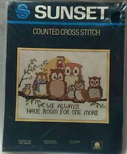 Sunset Room For One More 2962 Counted Cross Stitch Kit Owls Eileen Violet New