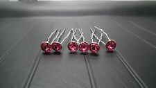 Brand New in Pack 6 Silver Colour Hair pins with Cerise Pink Stones