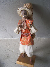 Mexican Papier Mache Worker Doll - Man with Large Woven Mat - Mexico