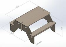 Table With Benches - Project To Cut on CNC Router Vector DXF File Woodwork 050