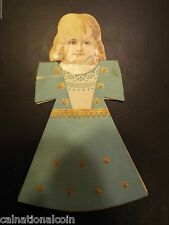 R.W. Dinsmore Kabo Corsets Girl in Blue Dress Antique Standing Trade Card