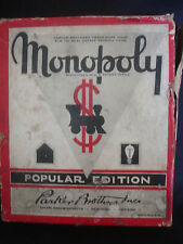 Old Vtg Parker Brothers Monopoly Popular Edition Game Wood Pieces Made In USA