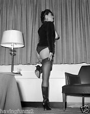1960s Tall Busty Pinup wearing black garter stockings 8 x 10 Photograph
