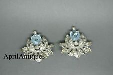 Vintage Crown Trifari Alfred Aquamarine Blue rhinestone Lotus flower earrings