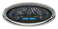 Dakota Digital Universal Elliptical Oval Analog Dash Gauges Carbon Blue VHX-1017
