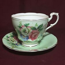 Paragon china mint green Roses floral pattern cup and saucer