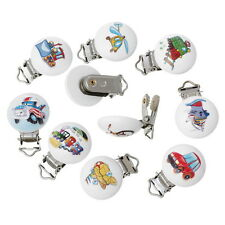 5PCs Mixed Baby Pacifier Clips Vehicle Pattern White Wood Metal Dummy Nipples