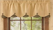 "Park Designs BURLAP, BLACK CHECK  Lined Scalloped Window Valance 58""x15"""