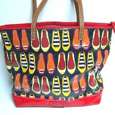 Nine West Shoes Print Tote Bag Red Navy Handbag Travel Vacation Weekender 16X12