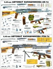Color POSTER Of Soviet Russian AK & RPK74 Kalashnikov 5.45x39 Rifle LQQK BUY NOW