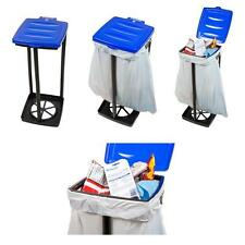 13 Gal. Blue Portable Garbage Trash Bag Holder Stand Lawn Bin Soda Can Recycler