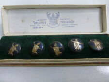 Siam Sterling Silver Buttons W/ Black Enameling Set of 5