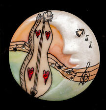 USA-Made Hand-Crafted Porcelain Moon Pin w/ MtnDulcimer, Swarovski Crystals