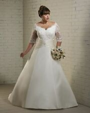 Plus Size Lace White/Ivory Wedding Dress Bridal Gown Custom 16 18 20 22 24 26 28