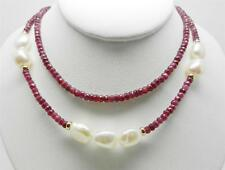 """14K YELLOW GOLD VINTAGE RUBY BEADS AND BAROQUE PEARL NECKLACE 18"""" LONG - LB2328"""