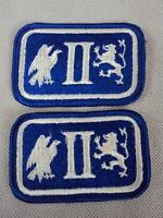 Pair of US II Second Army Corps Military Cloth Shoulder Sleeve Badges / Patches