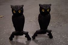 VINTAGE CAST IRON OWL ANDIRONS WITH AMBER EYES