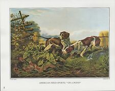 "1972 Vintage Currier & Ives HUNTING DOGS ""ON A POINT"" COLOR Print Lithograph"