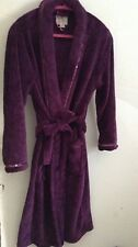 Plush Rich Purple Cosy Dressing Gown With Sequin Trim New Without Tags
