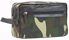 Men's Fabric Leather Camo Shave Kit Toiletry Camouflage Travel Bag Dopp Kit New