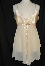 Victoria's Secret Size L Sexy Ceam Champaign Bow Negligee Teddy Nighty Nightgown