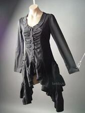 Victorian Goth Steampunk Black Ruffle Bustle Tailcoat LARP Top 104 ac Blouse S