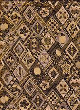 Diamond Pattern Hawaiian Tropical Cotton Fabric - Black and Gold - 1 Yard