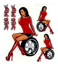 SEXY BRUNETTE IN BOOTS RED DUB PIN-UP RACE GIRL STICKER/DECAL SET Lethal Threat