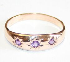 "9ct Rose Gold 3-Stone Amethyst Gypsy Set Ring Size O  ""NEW"""