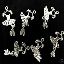 10 x Tibetan Silver Ballet Dress & Shoes Pendant Charms